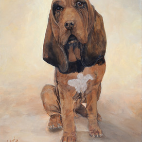 Saint Hubert's Gift, A Bloodhound and A Companion Original Piece of Art By Kathy Winkler
