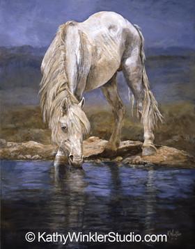 """""""Rhapsody in Blue"""" White Mustang"""