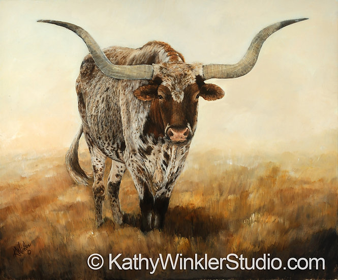 """""""Don't Fence Me In"""" Texas Longhorn Steer Giclée"""