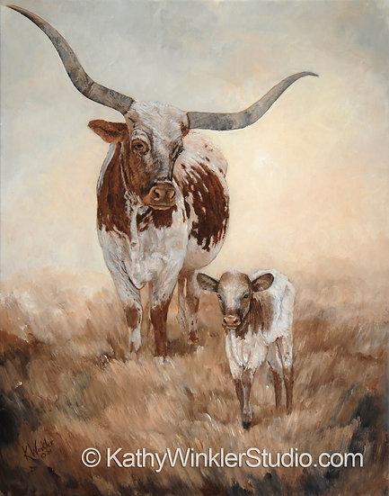 """""""Looks Like Me"""" Texas Longhorn Cow Giclée"""