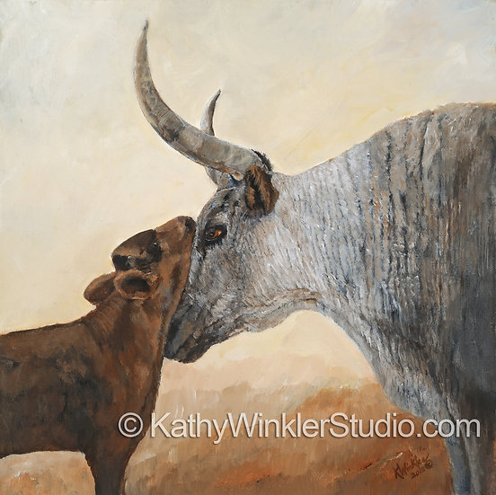 """""""Because You're Mine"""" Longhorn Cow, Giclée"""
