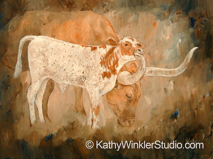 """""""I Love My Mom"""" Texas Longhorn Bull Calf Giclée"""