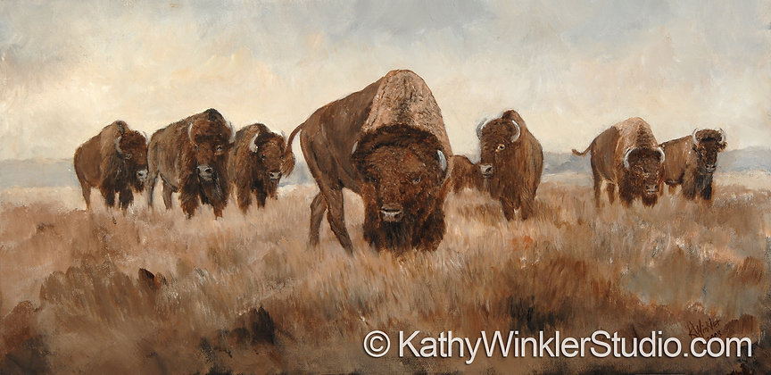 """Detour Suggested"" Bison Bull Giclée"