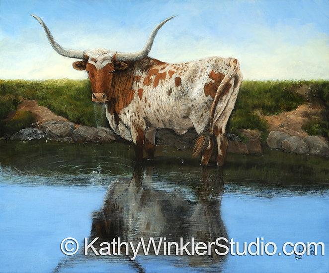"""Cool, Clear Water"" Texas Longhorn Steer Giclée"