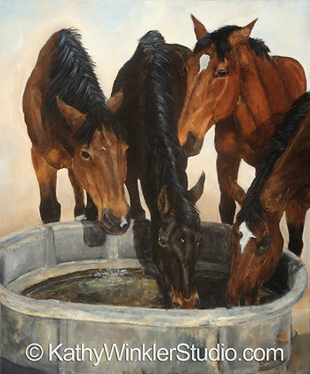 """Four of A Kind"" Horses,  Giclée"