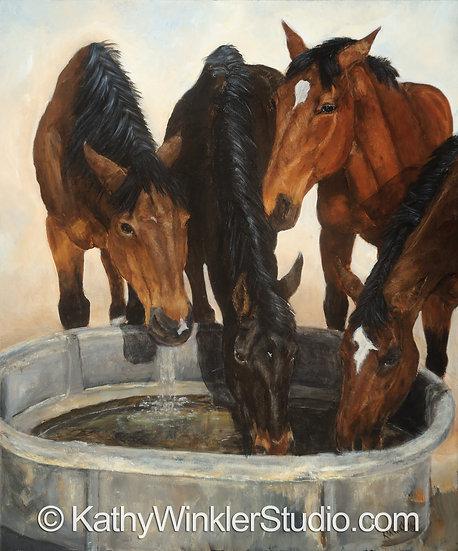 """""""Four of A Kind"""" Horses,  Giclée"""