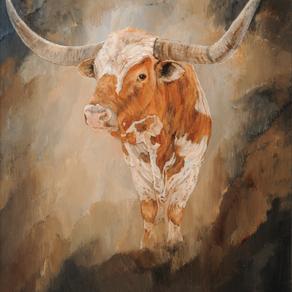 """""""Presenting Himself"""" History behind Kathy Winkler's Longhorn Bull  Painting"""