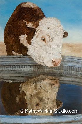 """I'll Be Seeing You"" Hereford Bull Giclée"