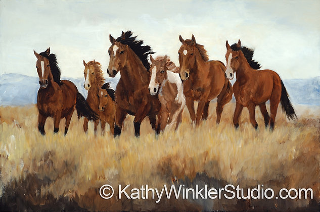 """Beauty in Being Free"" Galloping Horses, Giclée"