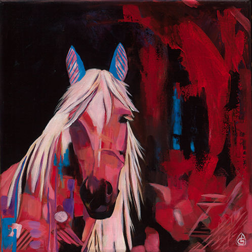 HORSE OF FIRE - Framed Giclée on canvas, 50x50cm