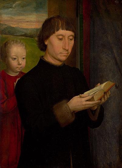 Set 2x: Portret Barbat Citind / Portret femele in rugaciune - Hans Memling