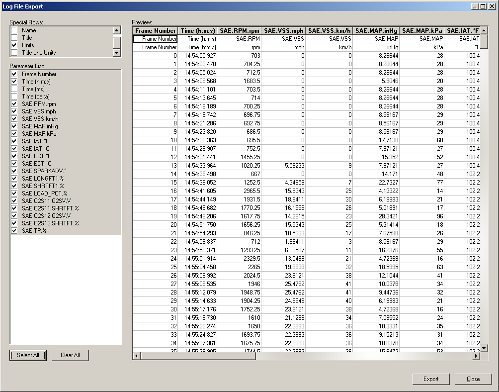 PCM Scan Log File Export