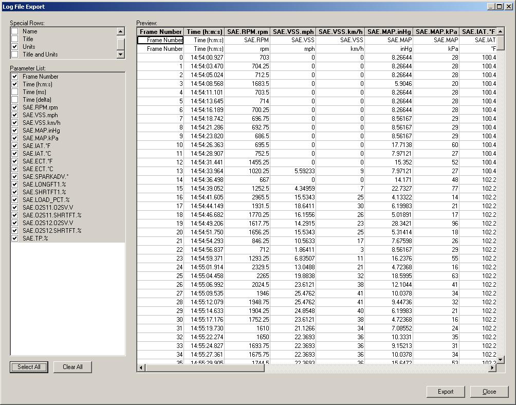 PCM Scan Log File Export