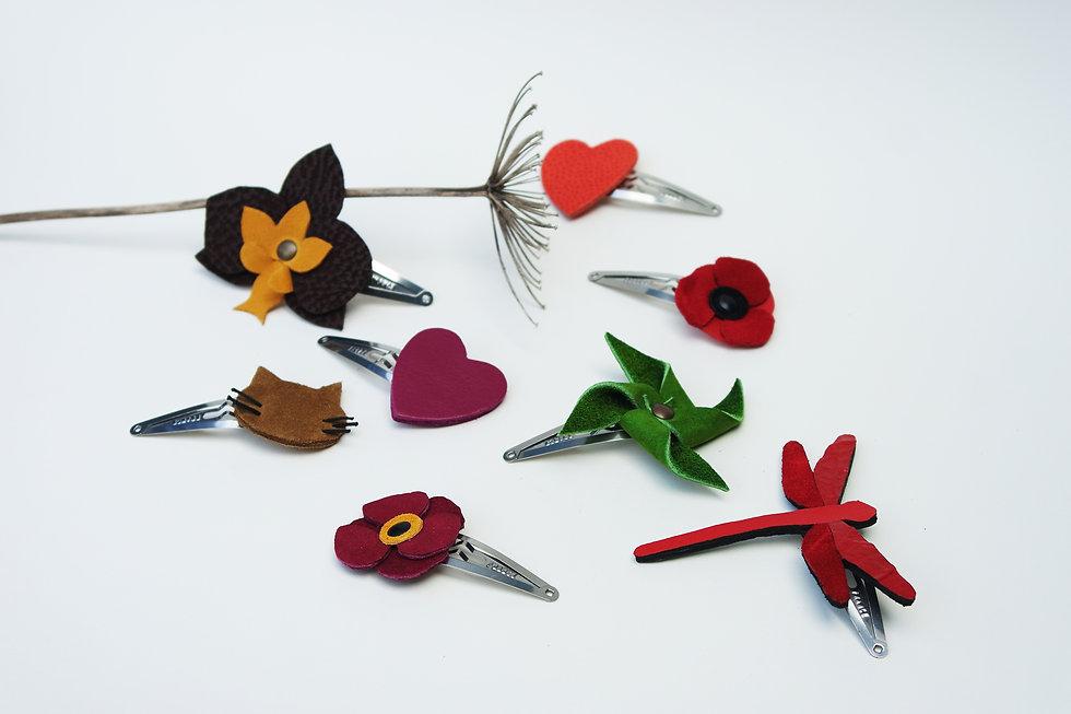 barrette pour cheveux en cuir recyclé barrette clic-clac pince pour cheveux créations artisanales atelier des ombelles