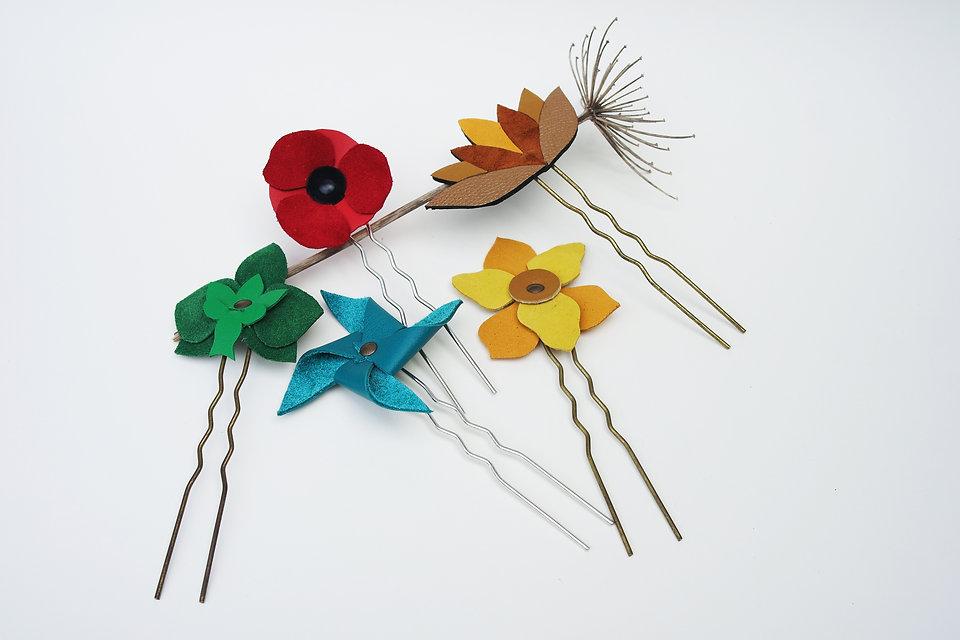 pique pour cheveux pic chignon cuir recyclé fleurs poppy coquelicot moulin à vent accessoire cheveux atelier des ombelles création artisanale