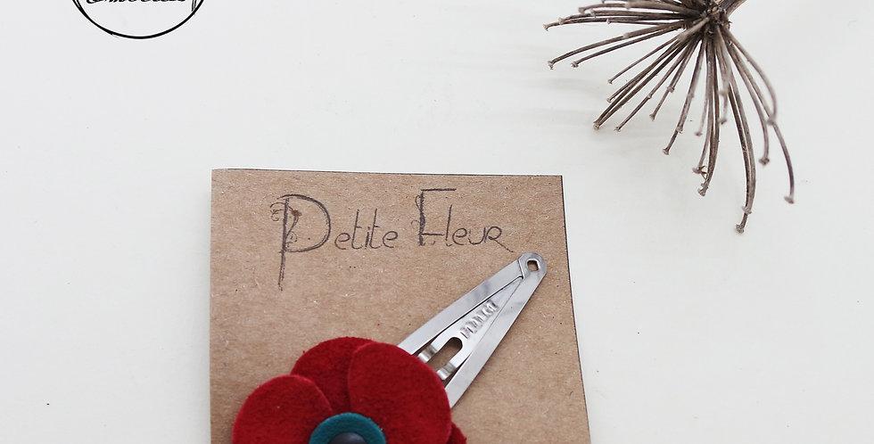 barrette clic-clac pour cheveux fleur en cuir recyclé