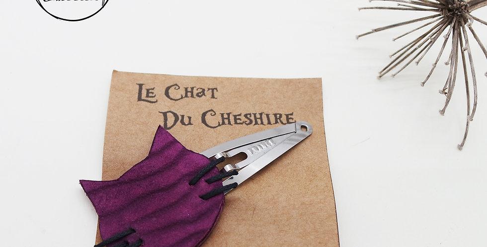 barrette clic-clac pour cheveux tête du chat de cheshire en cuir recyclé