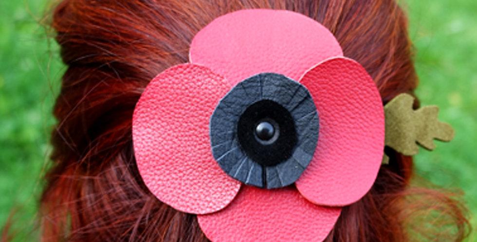pince barrette pour cheveux fleur coquelicot en cuir recyclé
