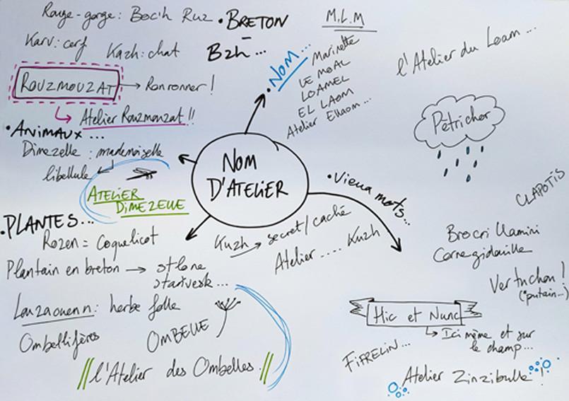 recherche et brainstorming du nom de l'atelier des ombelles
