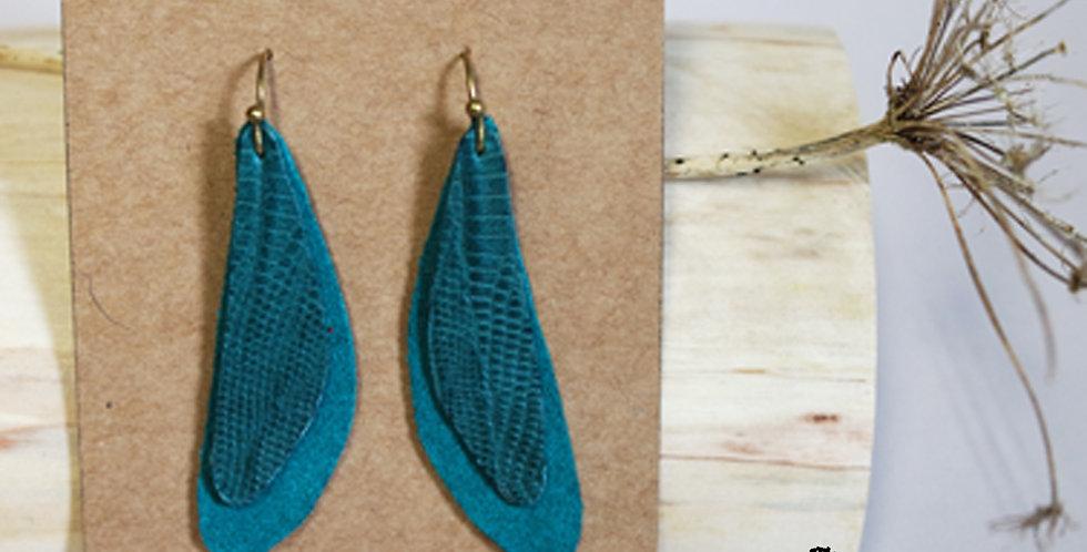 Boucles d'oreilles ailes de libellule turquoise en cuir recyclé