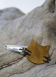 barrette clic-clac pour cheveux barrette en cuir tête de chat en cuir accessoire pour cheveux fabriqué à la main en bretagne