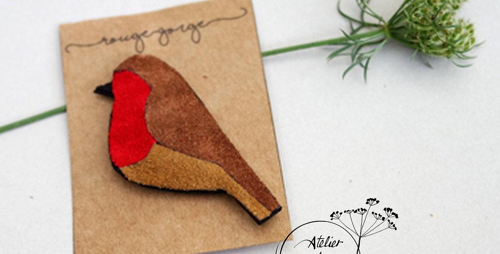 broche oiseau rouge-gorge en cuir recyclé
