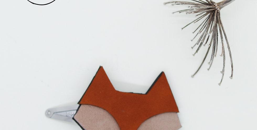 barrette clic-clac pour cheveux tête de renard en cuir recyclé