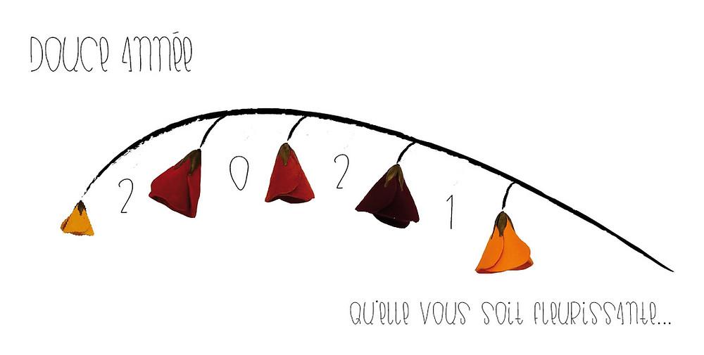 Carte de vœux 2021 de l'Atelier des Ombelles. Pour une année fleurissante !