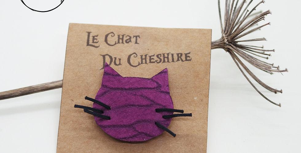 Broche tête du chat du cheshire en cuir recyclé