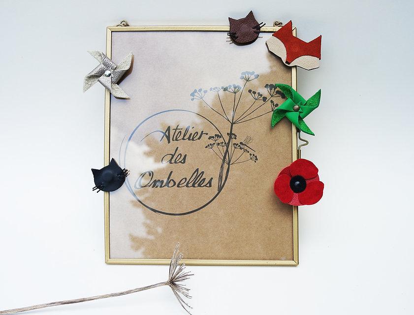 aimant magnet en cuir recyclé décoration déco frigo porte-photo fleurs moulin cuir accessoire fabrication artisanale en bretagne atelier des ombelles