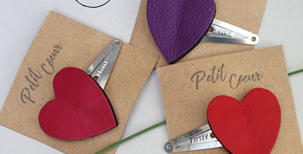 barrette clic-clac pour cheveux cœur en cuir recyclé