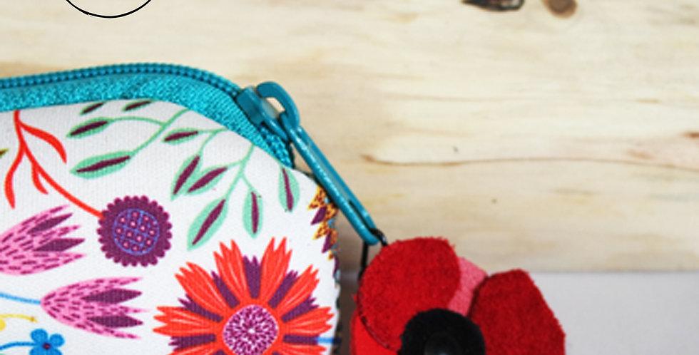 zip pendentif pour fermeture éclair fleur coquelicot en cuir recyclé