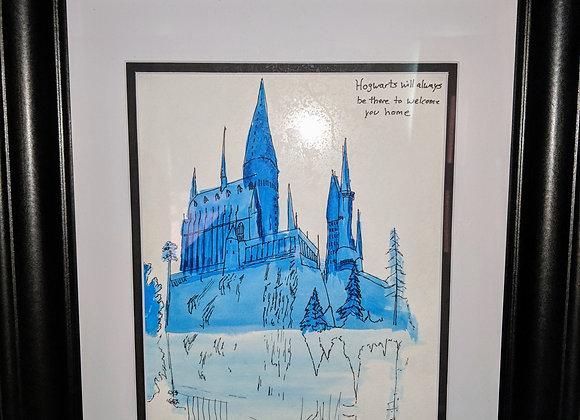 Hogwarts Castle Watercolor Print