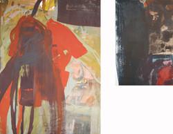 La grande faucheuse et le sombre Christ  sa droite - (150x130 cm) DIPTYQUE