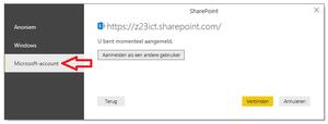 Aanmelding PowerBi SharePoint error, gebruik Microsoft Account! zie ook AVGdesk.nl