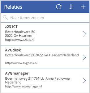 Mobiele weergave BrowseScreen1 PowerApps