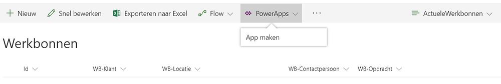 Maak je PowerApp door op de SharePoint Lijst te klikken op PowerApps, App Maken!