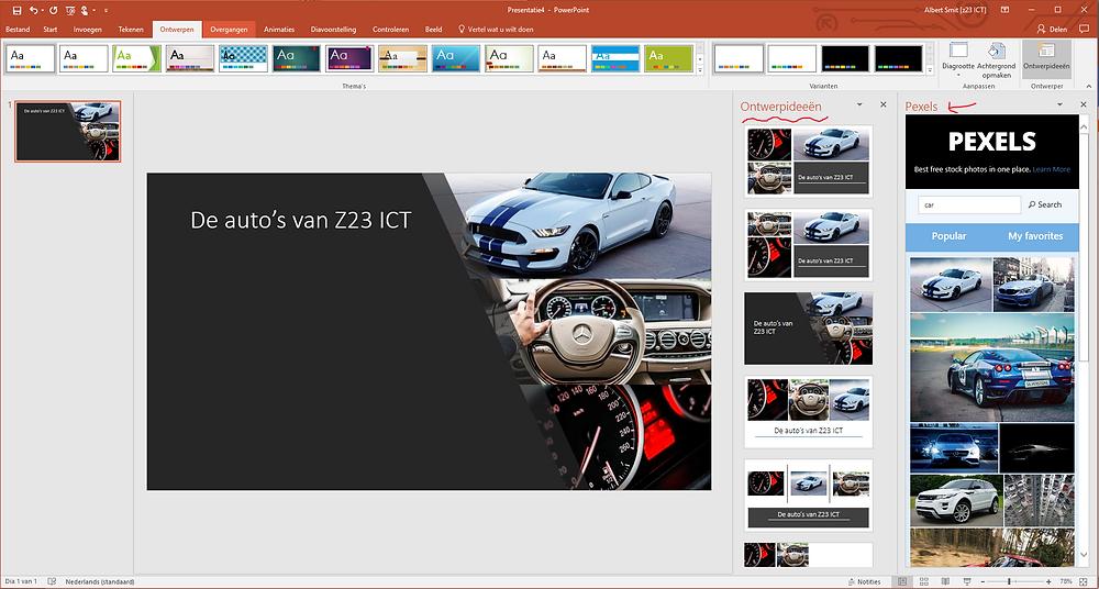 PowerPoint Ontwerpideeen en Pexels.com Office add-in