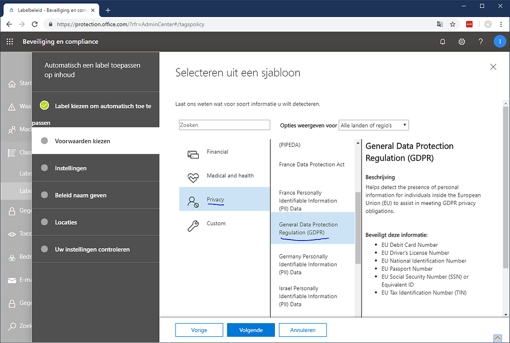 AVG wizard in Office 365 om automatisch privacy gevoelige informatie te classificeren en te voorzien van een label