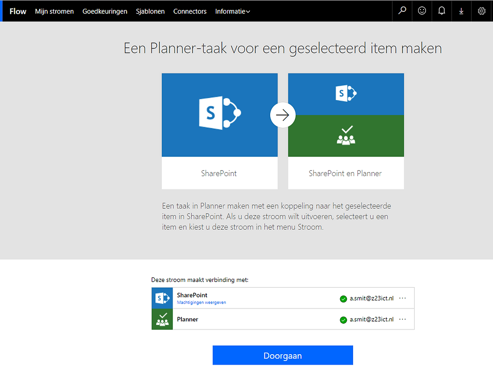 Flow Planner taak maken bij selected item in Sharepoint