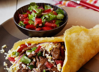 Low-carb beef burrito with Pico de Gallo