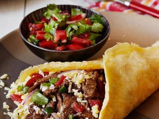 Low-carb beef burrito with Pico de Gallo