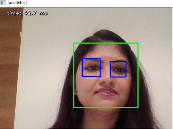 Real time face and eye detection using a laptop cam - OpenCV