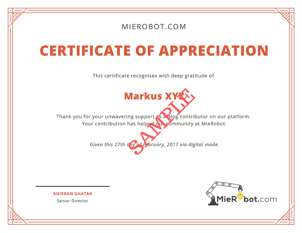 Guest Blog sample certificate | MieRobot blogs
