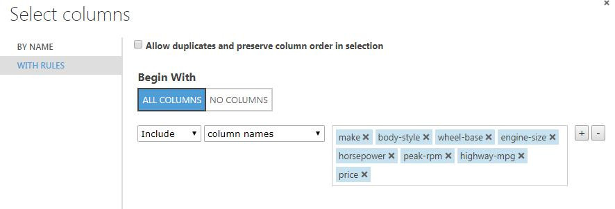 Rules and select columns | Azure machine learning studio | MieRobot blog