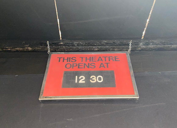 'THIS THEATRE OPENS AT' Sign