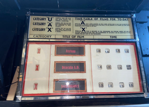 1930s Cinema Showings Sign