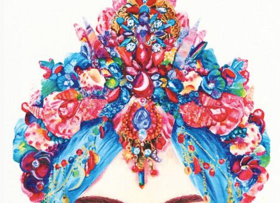 Blue Crystal Girl Print