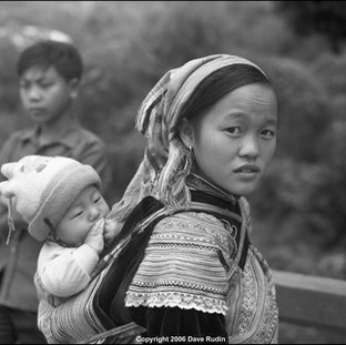 Flower Hmong Girl with Child, Northern Vietnam, 2006