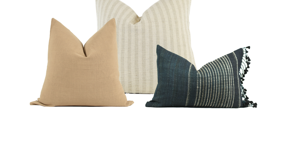 Neutral and Navy Pillow Combination